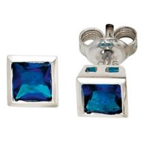 Ohrstecker 925 Silber rhodiniert 2 Zirkonia blau Ohrringe