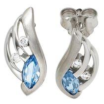 Ohrstecker 925 Silber rhodiniert teilmattiert mit Zirkonia blau