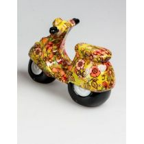 Trendige Spardose Roller Flower Power in Orange aus Keramik, 20 cm