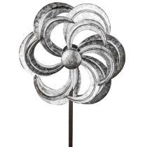 Windrad aus Metall Blume mit Stange antik silber 22/92 cm