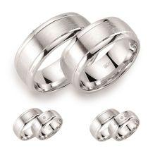 8mm breite Partnerringe 925 Silber rhodiniert mattiert poliert