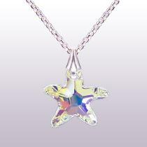 925 Silber Kinderkette mit Swarovski® Kristall Seestern Anhänger