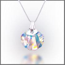 925 Silberkette Muschel Anhänger Swarovski® Kristall Crystal Aurora Boreale