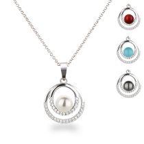 Anhänger rund Kringel mit Perle Halskette 925 Silber Rhodium