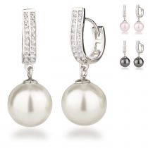 Creolen mit 12mm großen Perlen 925 Silber Rhodium Zirkonia