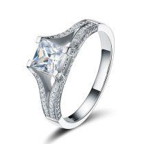 Damen-Ring mit quadratischem Zirkonia weiß 925 Silber rhodiniert