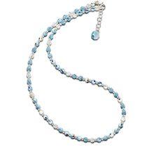 Halskette aquamarin blau aus Swarovski® Kristallperlen