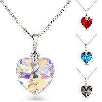 Kette Herzanhänger 925 Silber mit Swarovski® Kristall 18mm Herz, Farbwahl