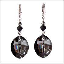 Lange Ohrhänger aus 925 Silber rhodiniert mit Swarovski® Leaf Kristall, Farbe: Silver Night