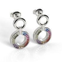 Mehrfarbige Ohrringe Stecker hängend 925 Silber