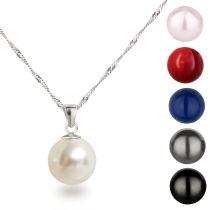 Neu: Perlenanhänger 12mm Perle mit Halskette 925 Silber Rhodium
