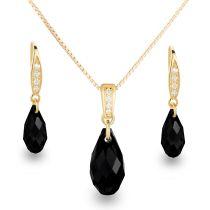 Neu: Schmuckset schwarz Swarovski Kristall Briolette 925 Silber vergoldet