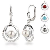Ohrhänger rund Kringel mit Perle 925 Silber Rhodium Farbwahl