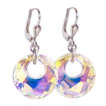Ohrringe mit 18mm großen runden Swarovski® Victory Kristall, Crystal Aurora Boreale, 925 Silber