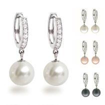 Perlen Ohrringe, Creolen aus 925 Silber Rhodium mit glitzernden Zirkonia und synth. Perle 10mm