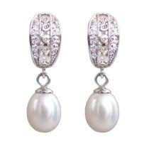 Perlenohrringe Creolen 925 Silber und Zirkonia echte Perlen