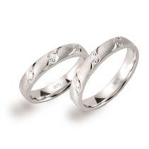Ringpaar 925 Silber Rhodium mattiert diamantiert auch große Größen