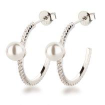 Schmale Halb-Creolen Ohrringe 925 Silber mit Perle