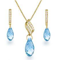 Schmuckset 925 Silber vergoldet mit Briolett Kristallen von Swarovski® in aquamarin-blau