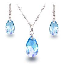 Schmuckset mit aquamarin-farbenen Kristall Tropfen von Swarovski® 925 Silber Rhodium