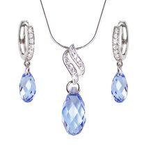 Schmuckset mit hellblauen Briolett Kristallen von Swarovski®, Zirkonia und Sterlingsilber