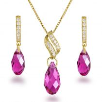 Schmuckset mit Swarovski® Kristall Brioletten in Fuchsia, 925 Silber vergoldet
