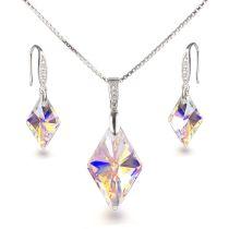 Schmuckset mit Swarovski® Rhombus Kristall 925 Silber Rhodium