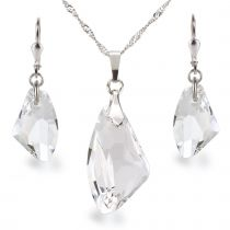 Schmuckset Swarovski® Galactic Kristall aus 925 Silber Rhodium Farbe crystal glasklar