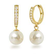 Silber vergoldete Perlen Ohrringe Creolen mit Perle 10mm