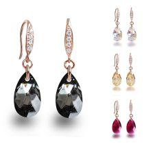 Swarovski® Kristall Tropfen Ohrringe aus 925 Silber rosegold plattiert, Ohrhänger