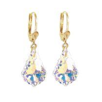 Vergoldete Ohrringe Swarovski® Kristall Barock Tropfen Crystal Aurora Boreale