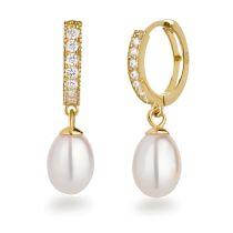 Vergoldete Süßwasser Perlen-Ohrringe 925 Silber Zirkonia