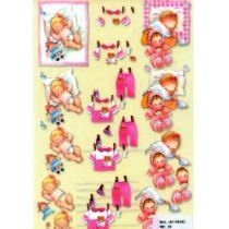 3D A4 Bogen Baby rosa