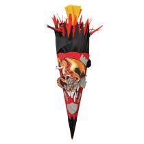 3D-Schultüte Bastelset Feuerdrache, 68 cm, eckig, Rot(h)-Spitze, Kreppverschluss