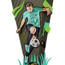 3D-Schultüte Bastelset Fußballstar, 68 cm, eckig, Rot(h)-Spitze, Kreppverschluss, Sound