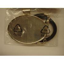 Collier mit Siebeinlage versilbert incl. Schmuckband 48 x 57 mm oval