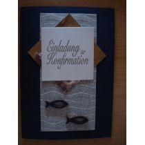 Einladungskarte Konfirmation mit Holzfischen, auch als Bastel-Set