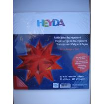Faltblätter, Origami, Kusudama 20 x 20 cm transparent rot