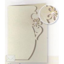 Halbperlenblume mit Stengel Karte