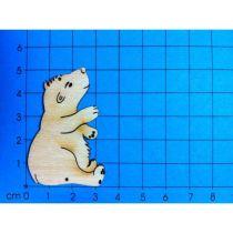 Holz Kleinteile gelasert Eisbär, Bär