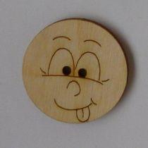 Holzknopf Gesicht Design 1