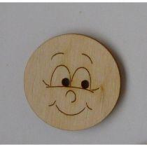 Holzknopf Gesicht Design 2