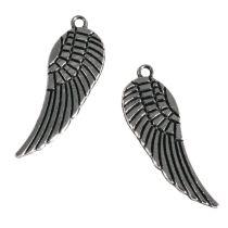 Metall-Anhänger , Flügel, 28mm, Öse 1mm ø, nickelfrei gold oder silber