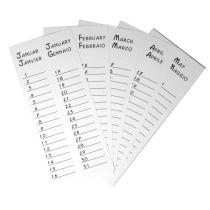 Monatsblätter für Dauerkalender 130g, 8,5x19,3 cm,12 Monate