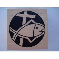 Motivstempel Fisch mit Kreuz