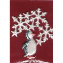 Pinguin bemalt, 4 Sterne, 3 Eiskristalle Glitter
