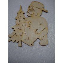 Schneemann mit Topf und Baum