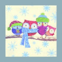 Servietten , 33 x 33 cm, Eulen im Winter bunt, 20 Stück