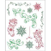 Silikon Stempel von Viva Decor Weihnachts Strumpfe + Schnorkel