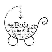 Stempel Kinderwagen Kinderglück, Baby, Leben, Lieben ...